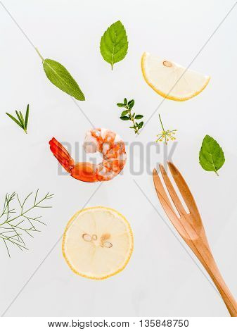 Fresh Steamed Shrimp Isolate On White Background. Boiled Prawns With Ingredients. Boiled Prawns With
