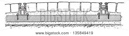 Marsillon track on sleepers, vintage engraved illustration. Industrial encyclopedia E.-O. Lami - 1875.