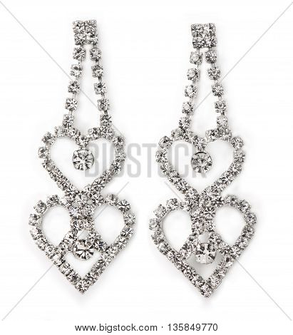 Heart-Shaped Women's Diamond Earrings straight on white with faint shadows.