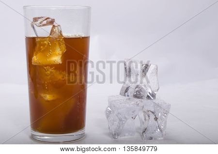 whisky of a stake and ice alcoholic drink