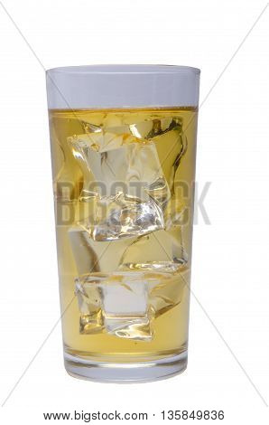 apple or grape clarified juice in glass isolated with clipping path included