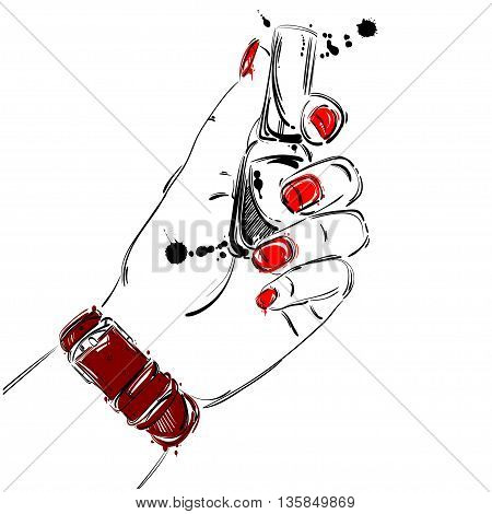 Vector abstract illustration of nail polish in a female hand. Beauty and fashion. Manicure. Beauty salon. Glamorous fashion illustration.