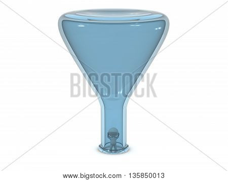 Small 3D character inside a large laboratory flask. Isolated on white background.
