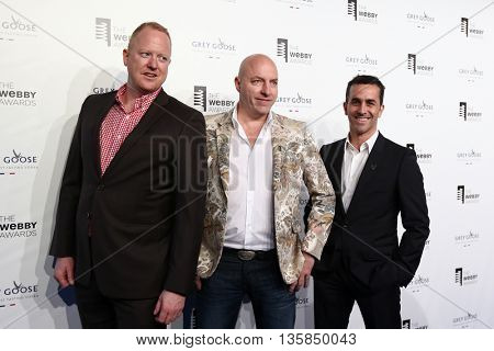 NEW YORK, NY - MAY 18: Freelancer.com CEO Matt Barrie (C) and guests attend the 19th Annual Webby Awards at Cipriani Wall Street on May 18, 2015 in New York City.
