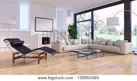 Living room 3d render armchair parquet sofa
