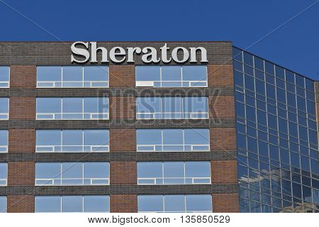 Indianapolis - Circa June 2016: Sheraton Indianapolis Hotel at Keystone Crossing. Sheraton is Part of the Starwood Hotel Group I