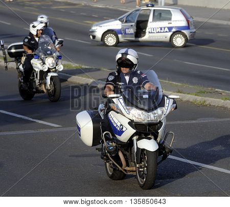 BELGRADE, SERBIA - CIRCA JUNE 2016: Two police officers on their motorbikes,  circa June 2016 in Belgrade