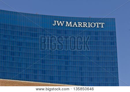 Indianapolis - Circa June 2016: Downtown JW Marriott Hotel. The JW Marriott is a Worldwide Chain of Luxury Hotels I