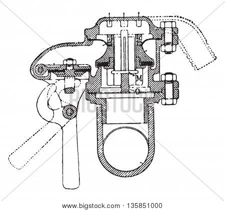 Valve fast-action brake Clayton, vintage engraved illustration. Industrial encyclopedia E.-O. Lami - 1875.