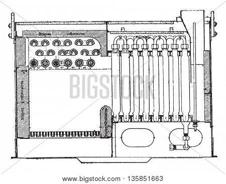 Serpollet generator, vintage engraved illustration. Industrial encyclopedia E.-O. Lami - 1875.