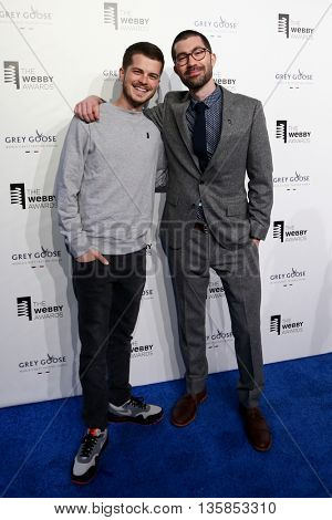 NEW YORK, NY - MAY 18: Senior Product Designer Kenji Droullard (L) and Director of Design Kurt Varner for Shy attend the Annual Webby Awards at Cipriani Wall Street on May 18, 2015 in New York City.