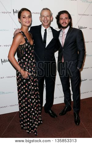 NEW YORK, NY-JUNE 2: (L-R) Actress Alicia Vikander, director James Kent and actor Kit Harington attend the