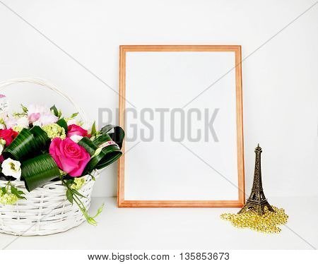 Stock style photography / rose & paris / mock up product / wood frame