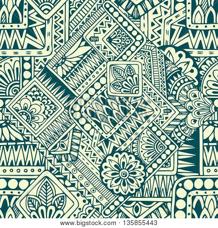 Seamless asian ethnic floral retro doodle black and white pattern in vector.Background with geometric elements.