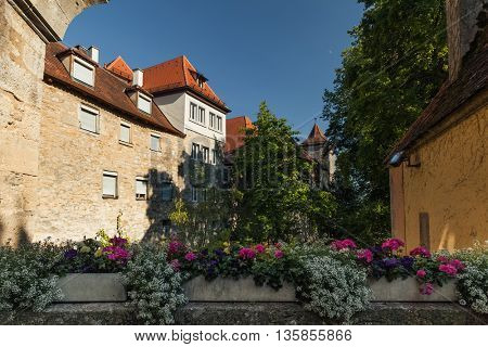 Garden with flowers in a German town of Rothenburg