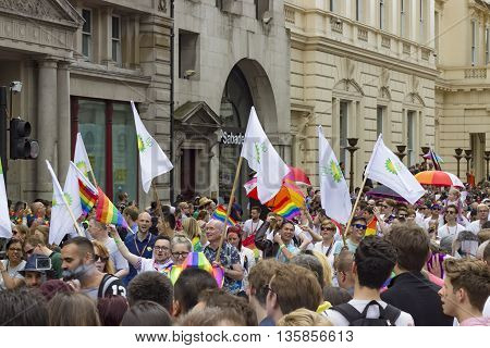 London England - June 25 2016: Crowded street on the occasion of the Pride in London Gay March in London England on the 25th of June 2016.