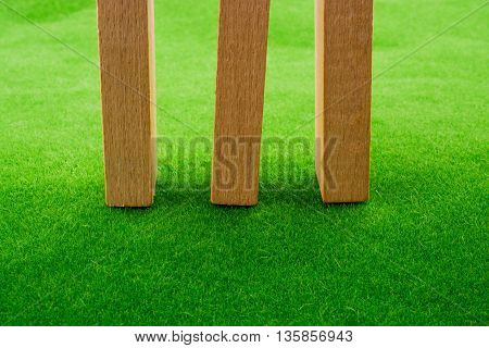 Three Wooden domino placed  on green grass