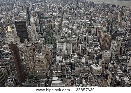 An aerial view of New York City buildings and skyscrapers.
