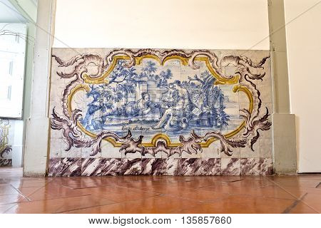 OEIRAS, PORTUGAL - November 4, 2015: Magnificent wall ceramic tiles panel in the Palace of Oeiras on November 4, 2015 in Oeiras, Portugal
