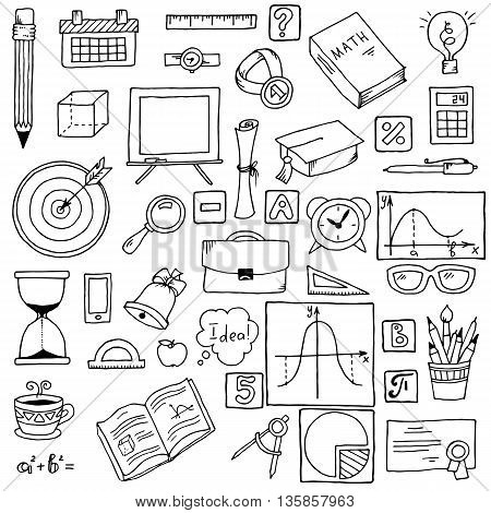 Illustration of icons on a mathematics theme. Hand drawn school items. Vector illustration. Math backdrop. Education background design. Science black and white vector composition.