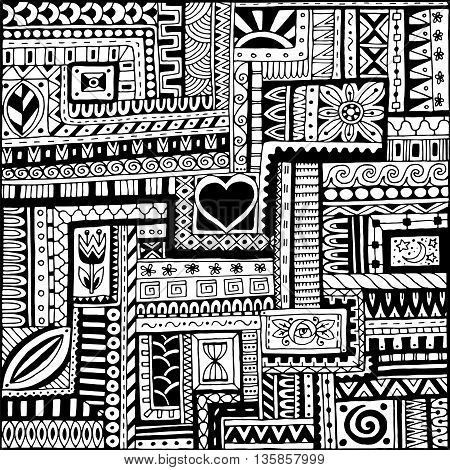 Seamless asian ethnic floral retro doodle black and white background pattern in vector. Henna paisley mehndi doodles design tribal black and white pattern
