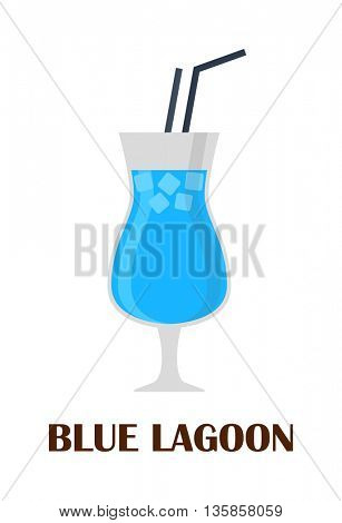 Blue lagoon cocktail vector illustration.