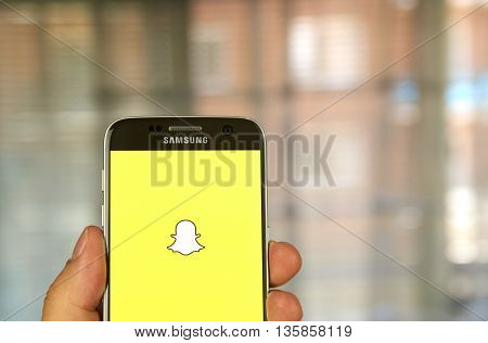 MONTREAL CANADA - JUNE 23 2016 - Snapchat application on android Samsung S7 screen. Snapchat is a mobile messaging application used to share photos videos text and drawings.