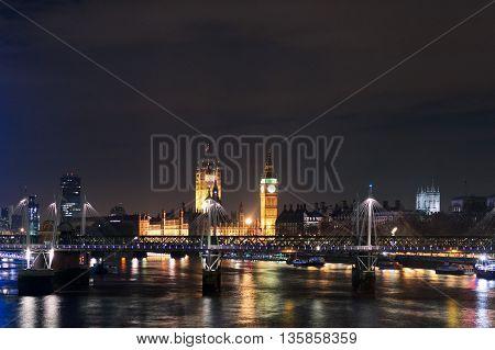 London's Eye And Big Ben At Night, England