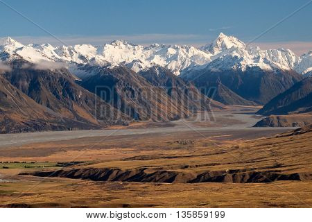 The High And Snowy Southern Alps on a Sunny Day.  Hakatere Conservation Park, Canterbury, New Zealand