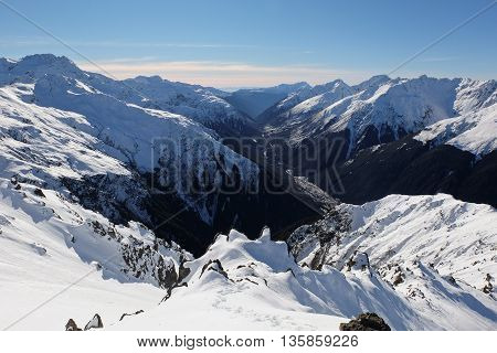 Panoramic Alpine Skyline and the Bealey River Canyon.  Mt Bealey, Arthurs Pass, Southern Alps, Canterbury, New Zealand