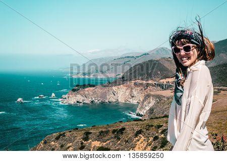 Girl Near Bixby Bridge In California Coast