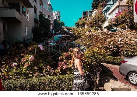 Girl In Front Of Lombard Street In San Francisco, California