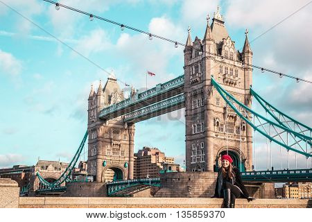 Girl In Front Of London Tower Bridge
