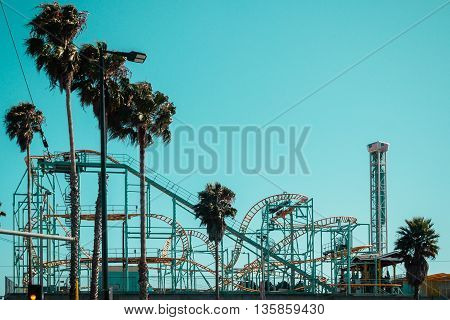 Rollercoaster In Santa Cruz Boardwalk, California, United States