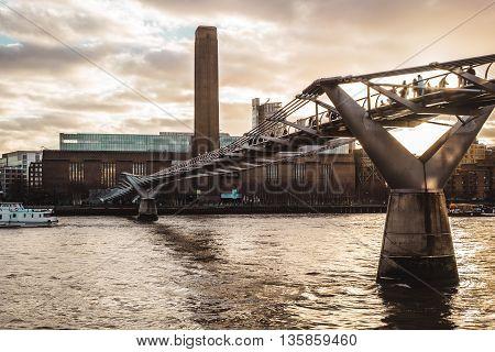 Buildings Near Millennium Bridge In London, England