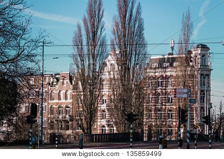 Buildings And Trees In Amsterdam, Netherlands