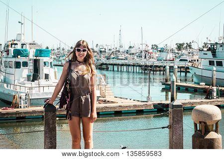 Stylish Girl At Marina In Harbour Island, San Diego