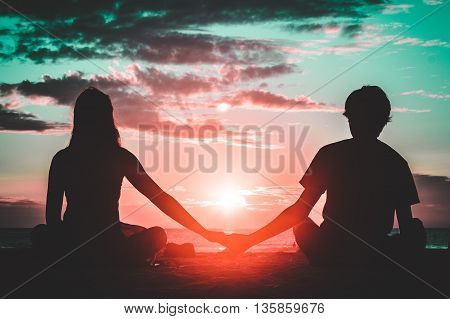 Silhouette Of A Couple At Coronado Beach, San Diego