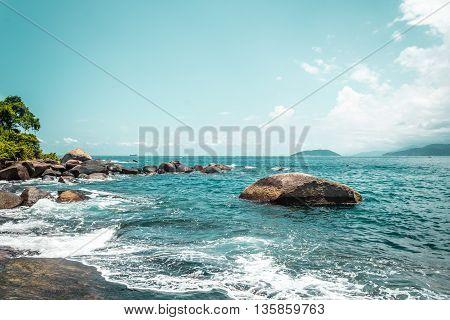 Rocky Beach At Beautiful Island (ilhabela) In San Paulo (são Paulo), Brazil (brasil)
