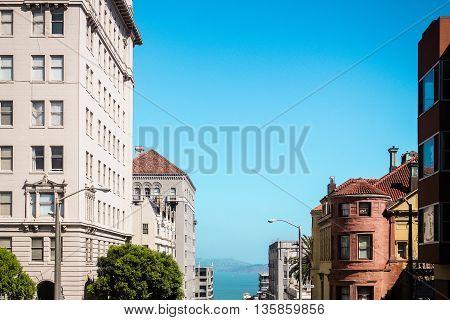 View Of Buildings And Sea At San Francisco, California