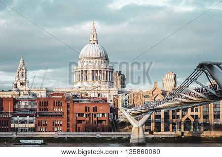 Buildings Near Millennium Bridge In London, England
