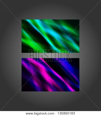 Colorful blue-green and purple-pink abstract banners 2x3.5 inches business card size.