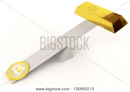 bitcoin and gold bar on the swing, 3d rendering
