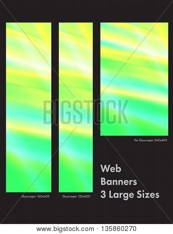 Three sizes of common web banners in a stunning stained glass design.