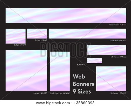 Nine sizes of pastel common web banners in a stunning stained glass design.