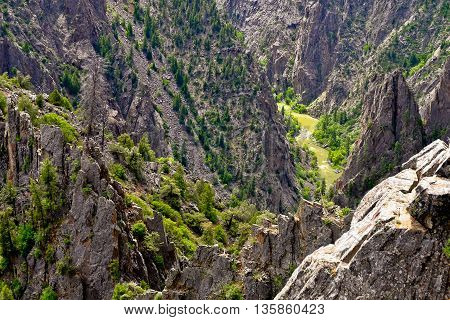 Dramatic River Canyon Viewed From Tomichi Point.  Black Canyon Of the Gunnison National Park, Colorado, USA.