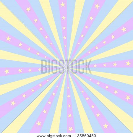 Square design featuring pastel colored stripes radiating out from the center with yellow stars.