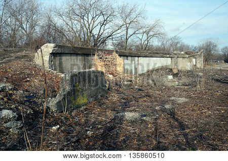 An old wall among the ruins of the old Joliet Iron Works in Joliet, Illinois.