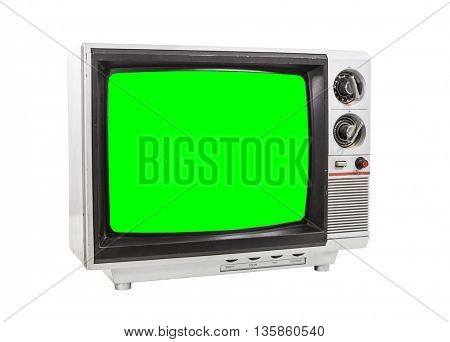 Old vintage television isolated on white with chroma key green screen.