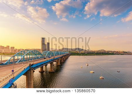 Sunset Of Dongjak Bridge And Han River In Seoul City ,south Korea